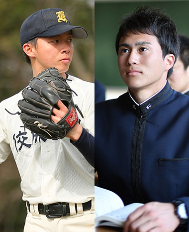 左、野球部ピッチャー、右、凛として前を向く男子生徒